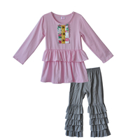 American European Style Fall Girl Clothes Hot Pink Top Gray multi-layer Ruffle Pants Children Boutique Clothing Set F157