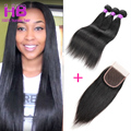 Straight Brazilian Virgin Hair 3 Bundles With Closure 7A Remy Straight Human Hair With Lace Closure Brazilian Straight Closure