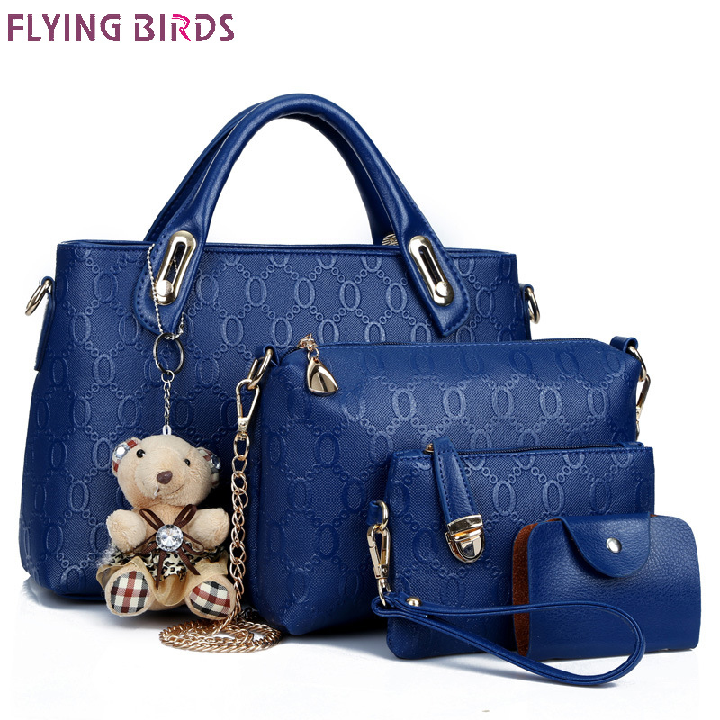 Flying birds women leather handbag 4 pcs set luxury tote women bag brands bolsos <font><b>pouch</b></font> messenger bags ladies wallet female <font><b>purse</b></font>