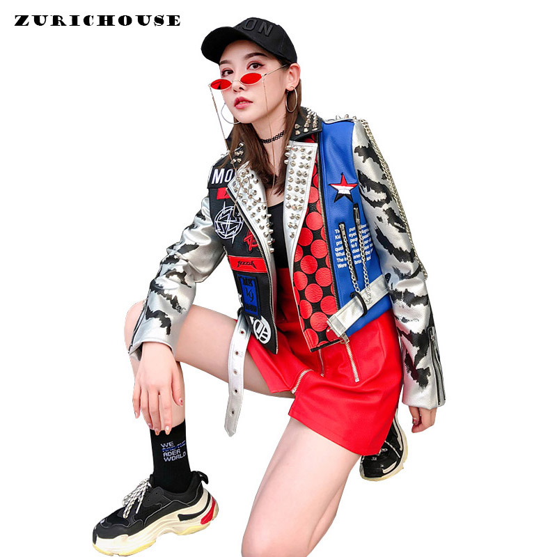 Veste en cuir femmes Style Punk Rivet Graffiti Moto veste en cuir manteaux 2019 nouvelle mode Streetwear chaussures en faux cuir pour femmes veste