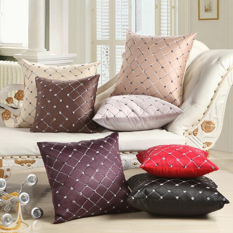 SALE Embroider Plaid Cushion Case Square Sofa Car Nap Throw Pillow Cover Home Decor Supplies Decorbox (without Pillow Core)