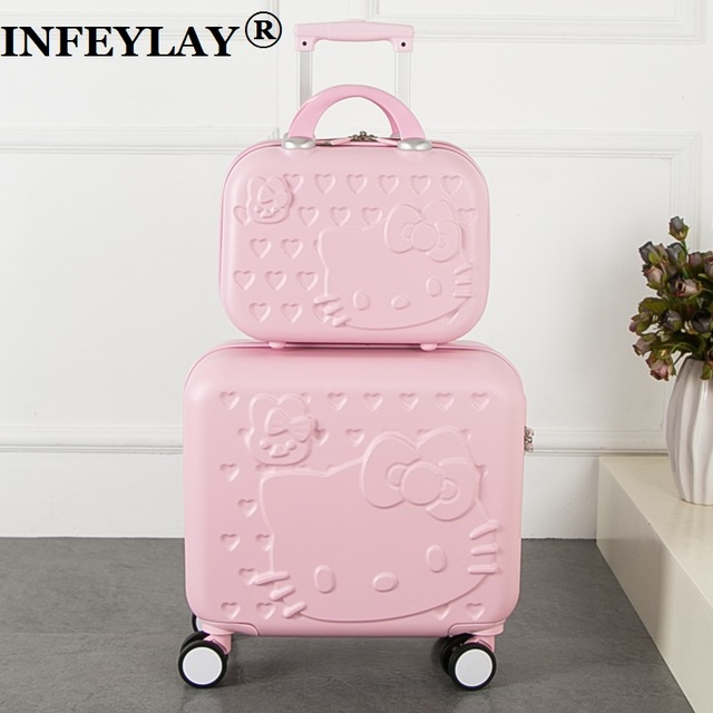 2PCS/SET Lovely hello Kitty 16 inches girl students trolley case 14inch child cartoon Travel luggage suitcase Boarding box gift