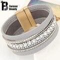 Luxury Magnetic Clasp Bohemia Handmade Full Stone Shining Layers Leather Bracelets Bangles for Women brazaletes pulseras mujer