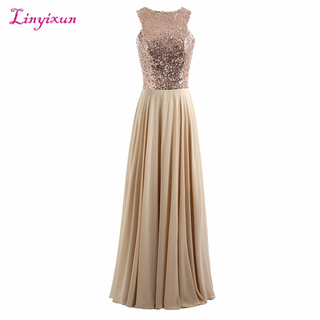 Linyixun Real Photo Sparkly Sequined Beaded Chiffon Bridesmaid Dresses  Cheap Long Pleat Wedding Guest Dress Maid of Honor Gowns f6b1f1c78