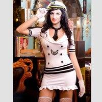 9802 Women Hot Erotic Sexy Slim Fit Navy White Sailor Dress Seaman Uniform Lingerie Sets Supper