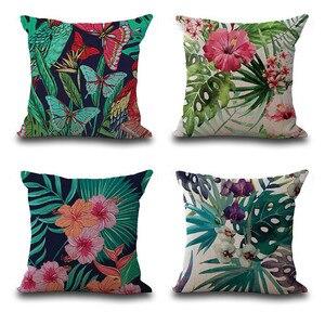 Image 5 - Housse de coussin en feuilles tropicales, Vintage de fleurs, couverture de coussin en coton et en lin coloré, canapé à la taille, housse de coussin, art décoratif à la maison