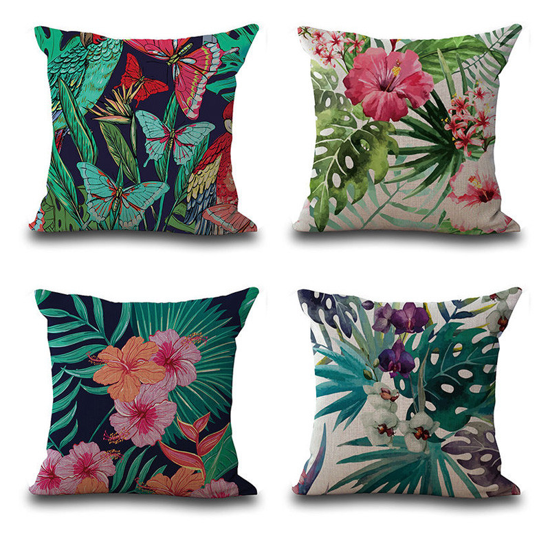 Image 5 - Vintage Flower Tropical Leaves Pillow Cover Colorful Cotton & Linen sofa Waist Throw Cushion Cover Home art decorative-in Cushion Cover from Home & Garden