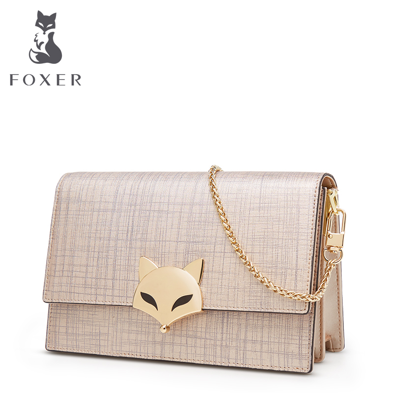 FOXER Brand 2018 New Fashion Chain Strap Crossbody Bag Women Leather Shoulder bag Ladies Bag Female Messenger bag fashion new design pu leather lotus wave female chain purse shoulder bag handbag ladies crossbody messenger bag women s flap