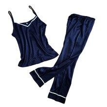 Mulheres calças compridas + topos 2 pijamas conjunto 2017 novo design feminino macio fresco homewear pijamas de cetim alta qualidade quente