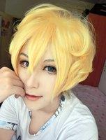 MCOSER Yüksek Kalite Güzel Moda Stil Japon Sarı Erkek Peruk karneval-YOGI Cosplay Peruk