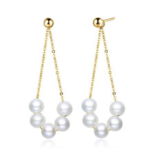 2018 18K Yellow Gold Natural Cultured Freshwater Pearl Drop Earrings For Women Pearl Pendant Dangle Earrings Fine Jewelry natural purple pearl drop earrings 18k yellow gold women elegant simple fashion drop earrings for party
