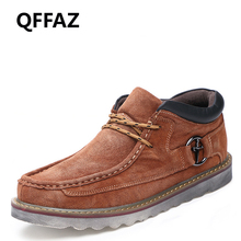 QFFAZ Warm Winter Genuine Leather Men Boots Men's Waterproof Retro Boots Male Ankle Boot Tooling Shoes Big Size 45 Drop Shipping