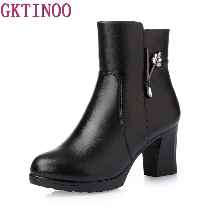 Women Ankle Boots Square High Heel Boots for Woman Fashion Zip Black Autumn Winter Womens Boots