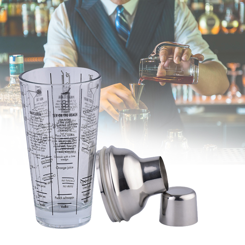 400ml Glass Cocktail Shaker With Marking Transparent Scale Cocktail Shaker Stainless Steel Bar And Glass Shaker Bar Tool Barware