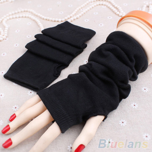 Women Fashion Knitted Arm Fingerless Mitten Wrist Warm Winter Long Gloves 2019 Women Winter Warm Solid Color Half Finger Gloves