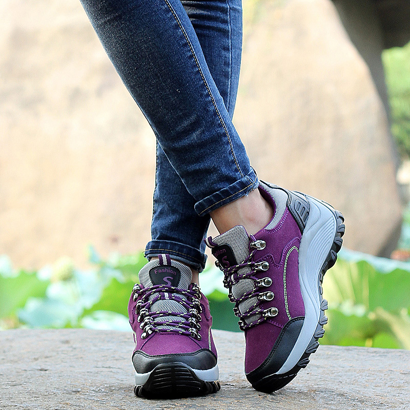 Baideng Women Hiking Shoes Spring Fall Winter Sport Climbing Shoes Non-slip Trekking Hiking Snow Boots Outdoor Wedge Sneakers