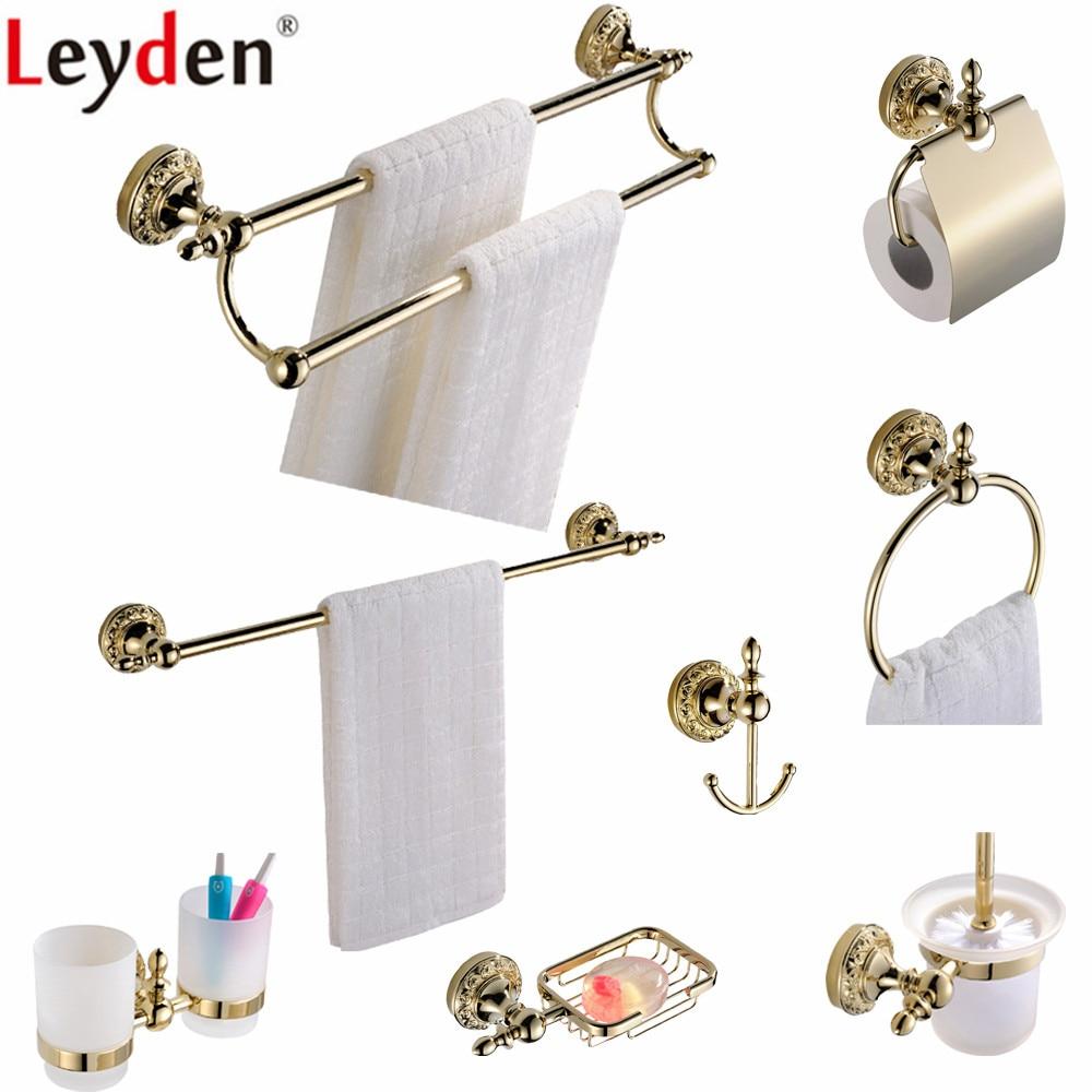 ᗛLeyden Luxury Solid Brass Towel Bar Toilet Paper Holder Towel Ring ...