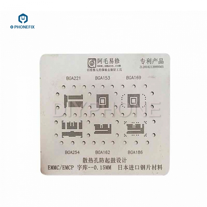 PHONEFIX 6 IN 1 BGA Reballing Stencil Template For EMMC/EMCP BGA221 BGA153 BGA169 BGA254 BGA162 BGA186 Mobile Phone Repair
