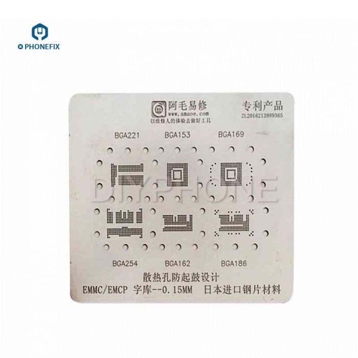 PHONEFIX 6 IN 1 BGA Reballing Stencil Template For EMMC/EMCP BGA221 BGA153 BGA169 BGA254 BGA162 BGA186 Mobile Phone Repair