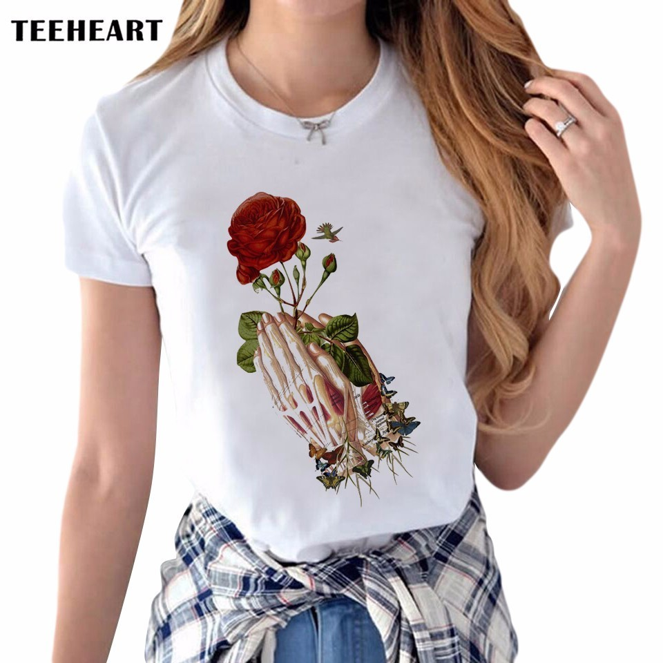 T shirt printing at white rose - Latest Women S Creative Rose Flower T Shirt Retro Pray Hand Printing Tee Shirts Hipster O