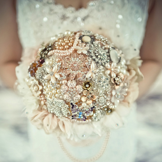 8 Inch Retro Custom Champagne Gold Brooch Bouquet Bridal Bride S Crystal Pearls Jewelry Vintage Golden