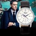 Cuarzo Reloj De Lujo Del Hombre Resistente Al Agua Cambia de Color de la Cara de Vidrio de Oro Plata Fecha Reloj Reloj Correa de Cuero Relojes de Los Hombres