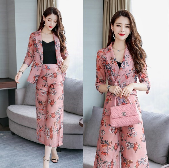 Women Two Piece Set Outfit Womens Elegant Floral Print Trouser Suit Fashion Office Designs Women Pant Suit Ladies Pantsuit