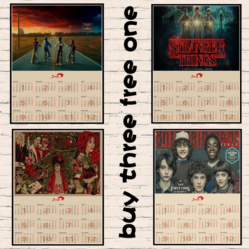 Stranger Things Collection Series B Home Furnishing decoration Kraft Movie 2018 Calendar Poster Drawing core Wall stickers