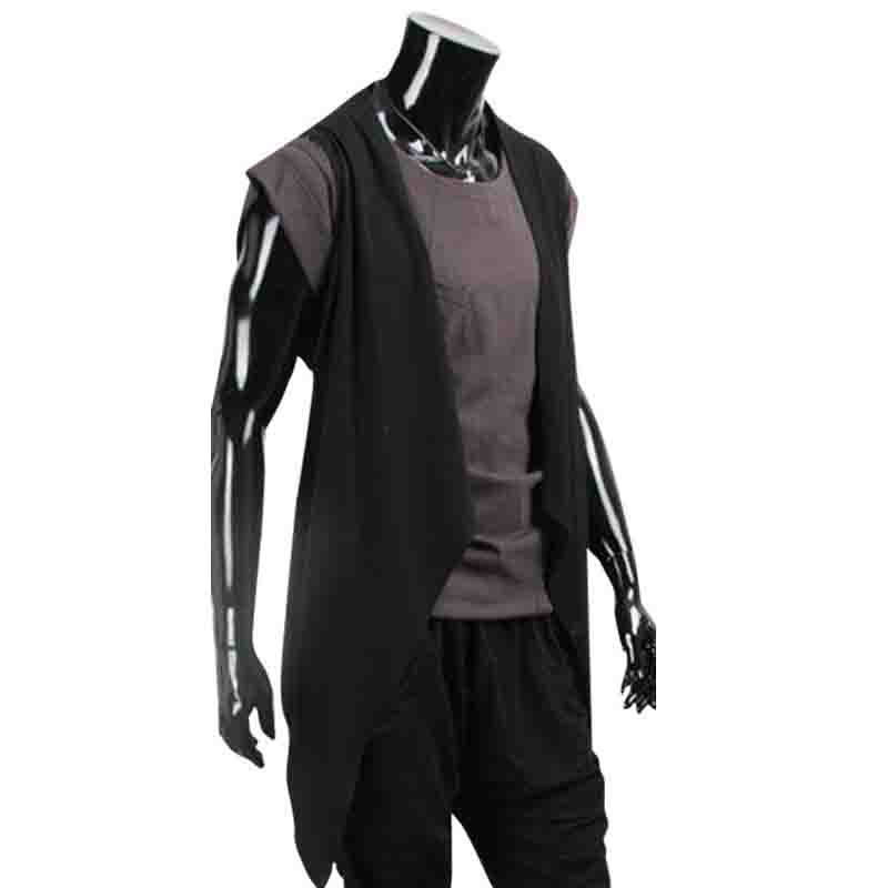 NEW 2018 Fashion Summer Casual sleeveless breathable youth cardigan hot thin long irregular shawls hair male t-shirts