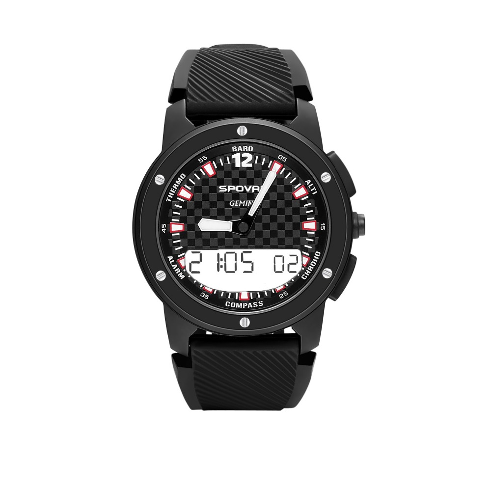 SPOVAN GEMINI Men Sport Watch Double Display Multifunction Compass/Waterproof/LED Backlight Mountain-Climbing Wrist Watch цена и фото
