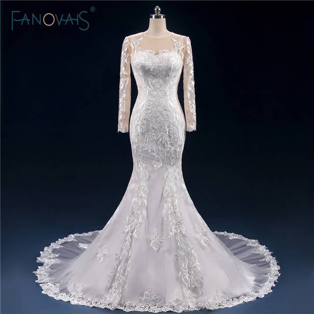 Real Made Sexy Mermaid Wedding Dresses Long Sleeve Lace Sheer Open Back Wedding  Gown Vestido de. placeholder ... 39659d19bfb0