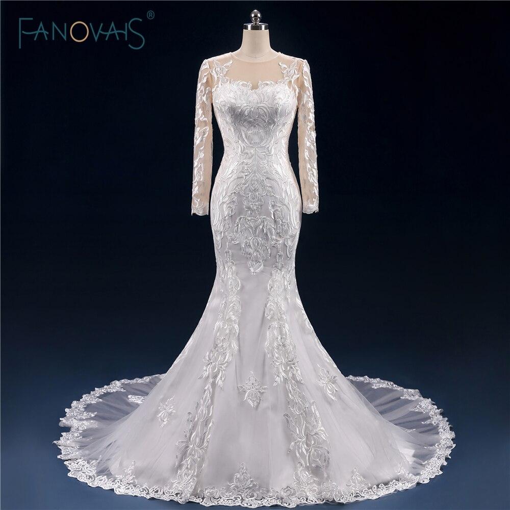 Popular lace open back long sleeved wedding dress buy for True mermaid wedding dresses