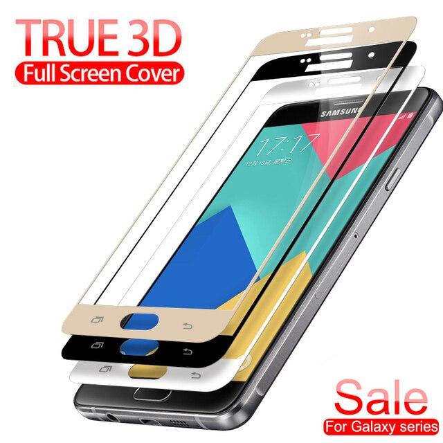 3D Đầy Đủ Bìa Tempered Kính trên Cho Samsung Galaxy A3 A5 A7 2017 J3 J5 J7 2016 2017 Màn Hình bảo vệ An Toàn Bảo Vệ Phim