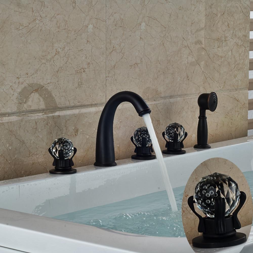 Oil Rubbed Bronze Luxury Crystal Glass Handles Vanity Sink