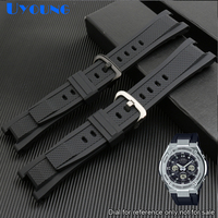 High quality silicone rubber watchband 26mm sport wristwatches band weaterproof silicone strap black band