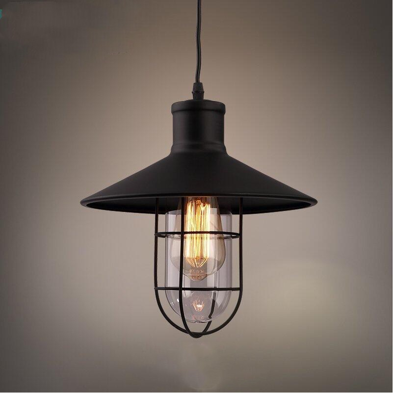 Vintage Country E27 Edison Bulb Cage with Glass lampshade Suspension Pendant Lights Lamps for Loft Warehouse Basement Cafe Bar vintage nordic iron cage pendant lights led e27 edison bulb pendant ls loft cafe bar restaurant decorative hanging lamps