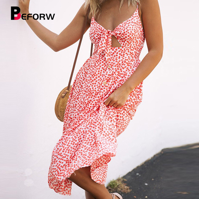 142a8a276d ... Bolinhas Imprimir Summer Beach Vestido Mulheres Bow Sem Costas vestido  Partido. BEFORW 2018 Sexy Deep V Neck Buttons Off Shoulder Dresses Polka  Dots ...