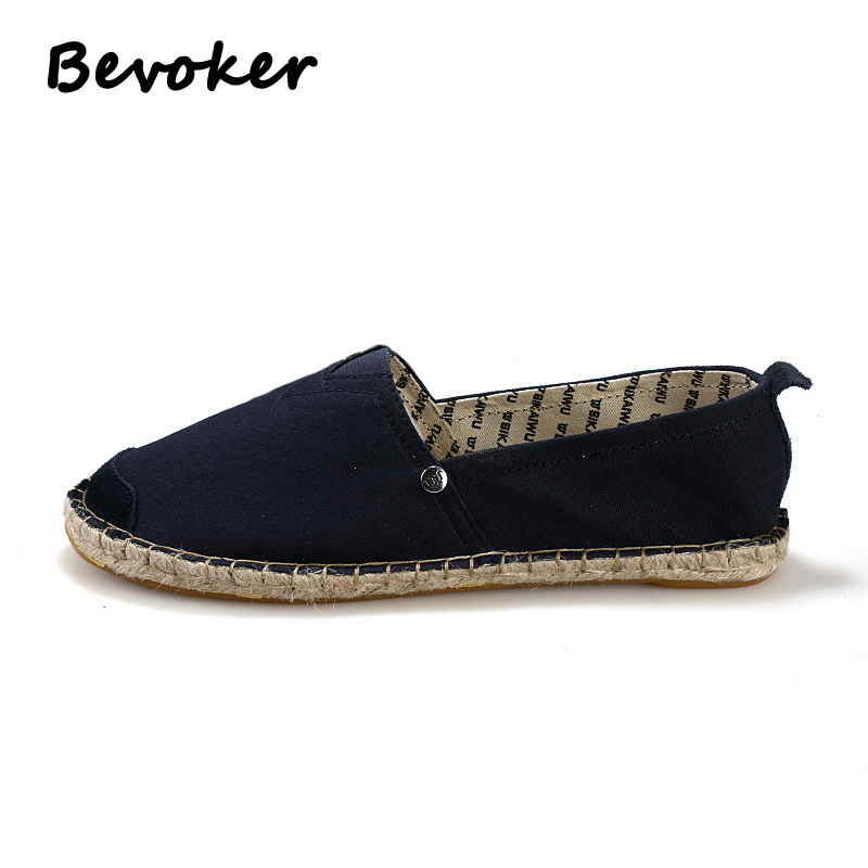 ФОТО Bevoker Mens Espadrilles Casual Fisherman Shoe Solid Canvas Slip on  Flats Loafers Breathable Light Shoes Size35-43