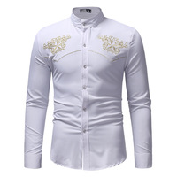 Formal Men's Shirt Large Size Embroidered Long Sleeve Stand Collar Shirt Featured Embroidered Exquisite High End Design Casual