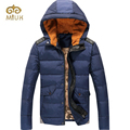 2016 Hooded Fashion White Goose Down Navy Blue White Stand Collar Parka Men Winter Jacket Coat