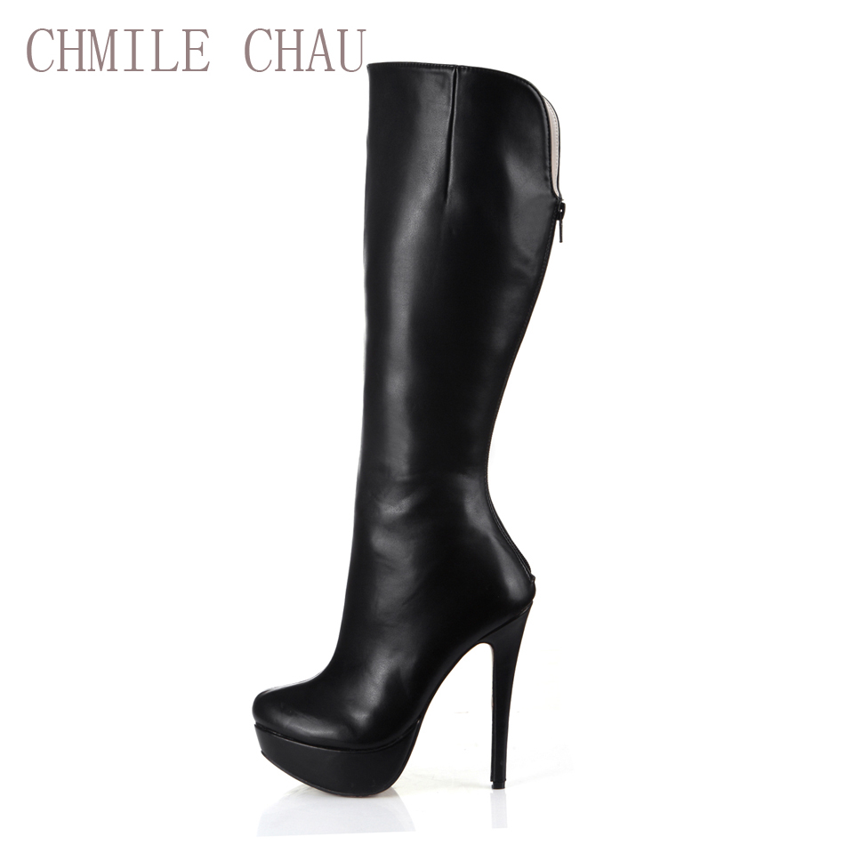 CHMILE CHAU Black Office Sexy Party Shoes Women Thin High Heels Platform Comfortable Lady Knee-High Boot Zapatos Mujer 3463BT-Q1