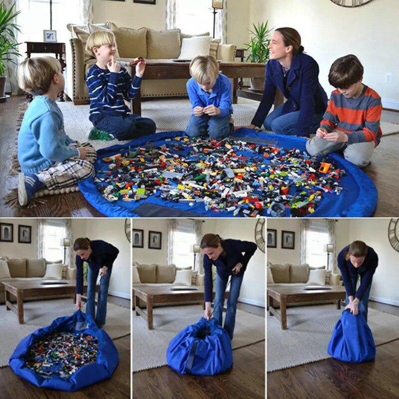 1.5 m crianças lego jogar esteira de brinquedo sacos de armazenamento de grandes dimensões organizador jogar esteira capacidade durável saco de armazenamento ao ar livre blocos de construção esteira