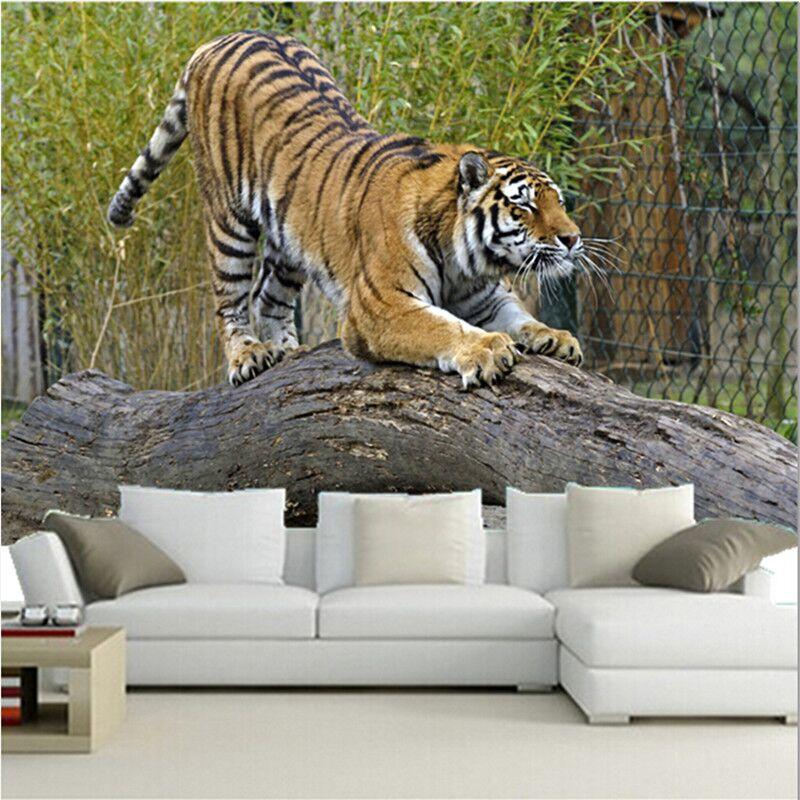 Benutzerdefinierte Tapetenwandbilder, Tigers Stamm Baum Tiere Tapeten Für Die Wohnzimmer Fernseheinstellungswand Wasserdicht Papel De Parede Auswahlmaterialien