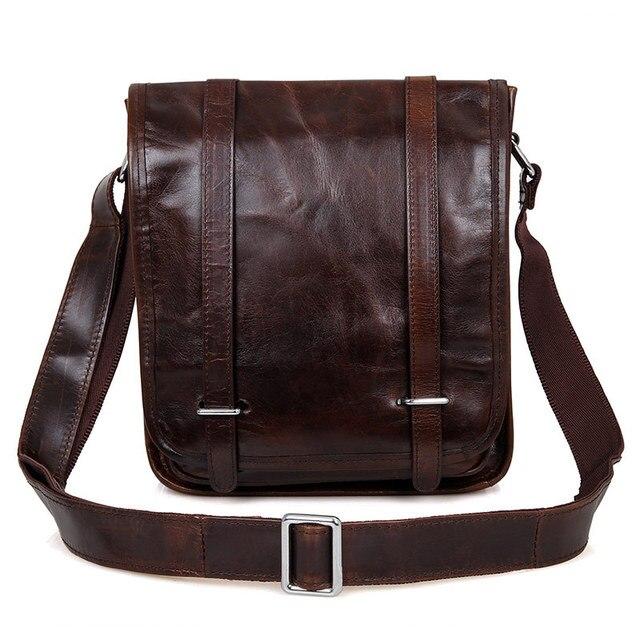Nesitu Hot Sale High Quality Fashion Dark Coffee Real Leather Men Messenger Bags Shoulder Bags #M7109