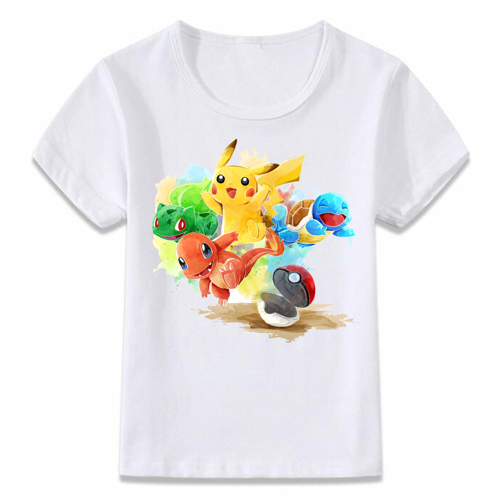 Kids T Shirt Pokemon Starters Squirtle Charmander Bulbasaur And Pikachu Children T-shirt Boys And Girls Toddler Tee Oal092