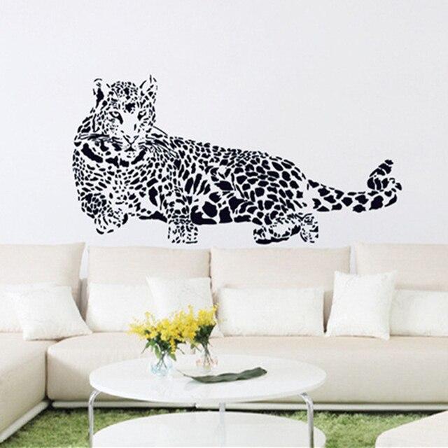 New Design Black Pvc Wall Stickers Cheetah Leopard 3d Removable Wall