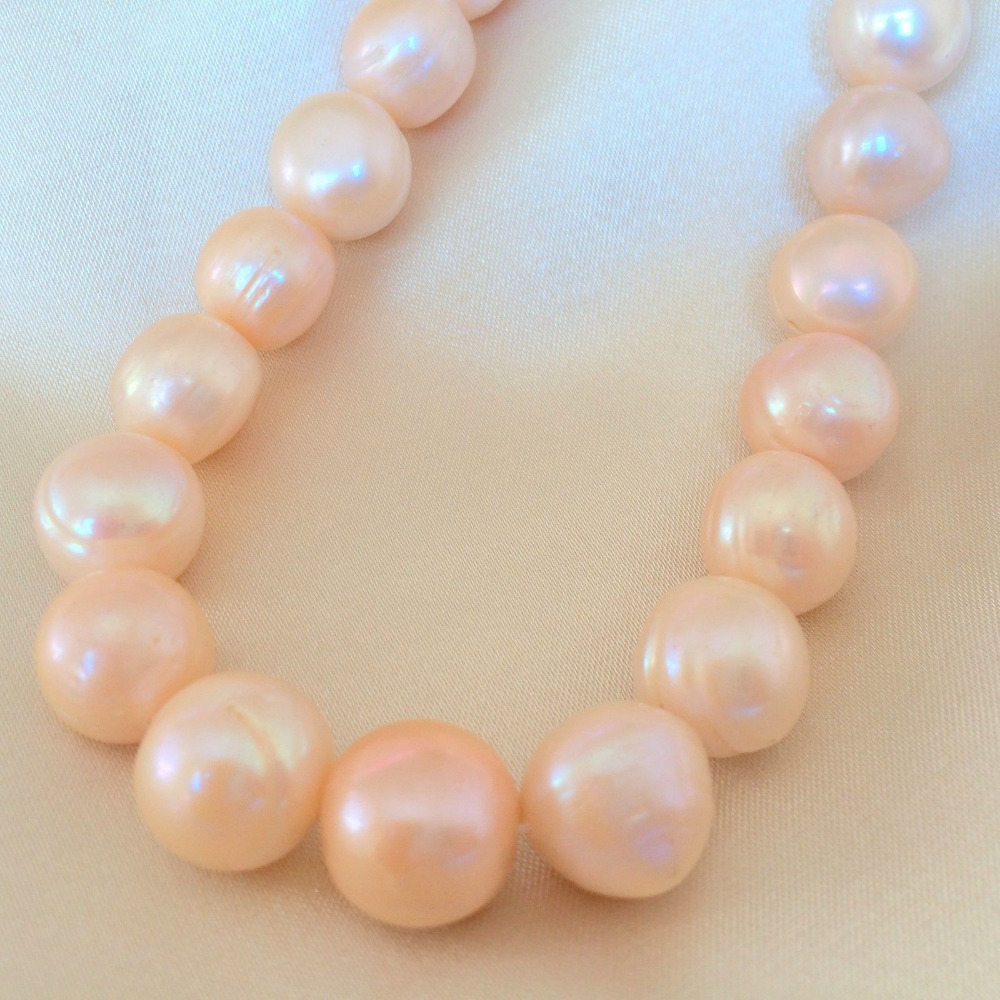 huij 00357 AA+ Pink Near Round Natural Cultured Freshwater Pearl Loose Beads 1 strand 15'' 16 inches aa 10 11mm natural white round freshwater pearl loos strand