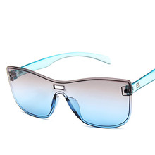 Oversize Square Sunglasses Women Fashion Flat Top Gradient Glasses Men Double Colors Frame Shades