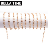 Bella Time 2M Square Crystal Copper Chains DIY Jewelry Making Findings Rose Gold Metal Necklaces Bracelets