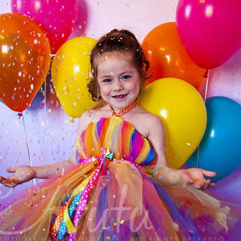 Bonbons colorés fille robe de fête d'anniversaire filles américaines robe de noël arc-en-ciel filles Tutu soutien personnalisé en gros